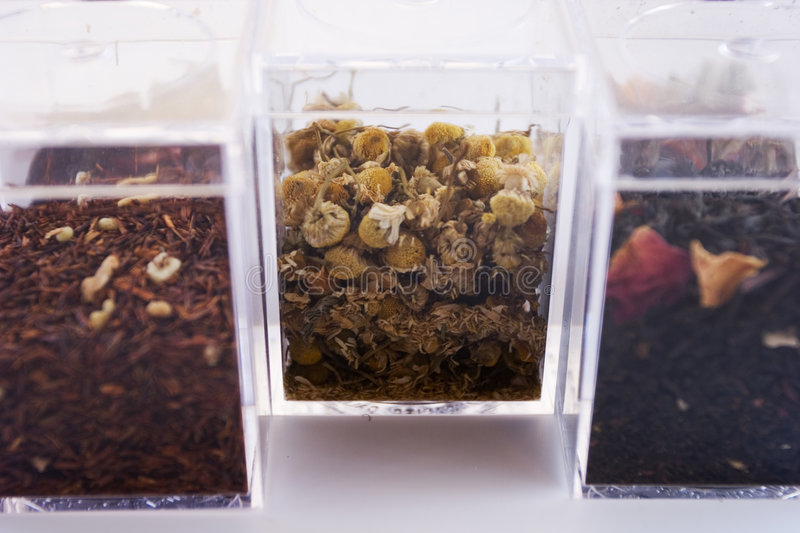 Boxes of Exotic Tea Leaves Two royalty free stock images