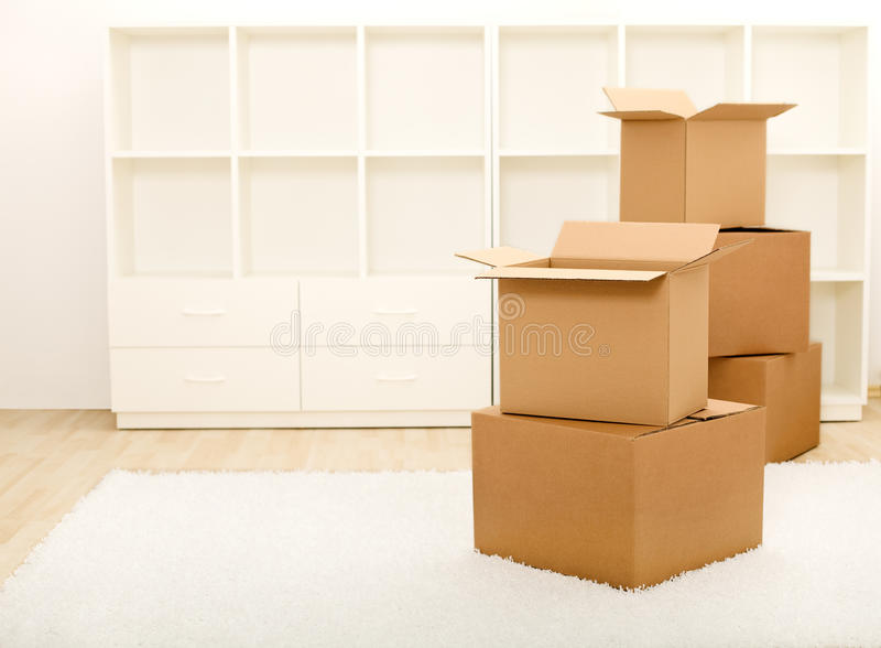 Download Boxes In Front Of Empty Shelves - Moving Concept Stock Photo - Image: 14320370