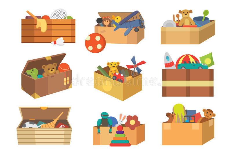 Boxes full kid toys cartoon cute graphic play childhood baby room container vector illustration. Boxes of kid toys vector illustration stuffed blocks cartoon stock illustration