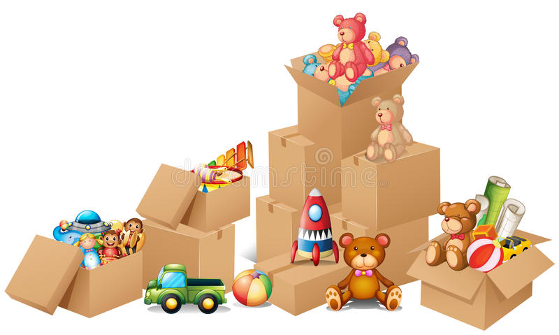 Boxes full of toys and bears vector illustration