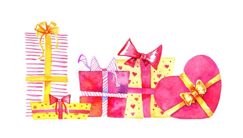 boxes gåvagruppen Skissar den utdragna vattenfärgtecknade filmen för handen illustrationen Röda och gula askar fyrkant och hjärta vektor illustrationer