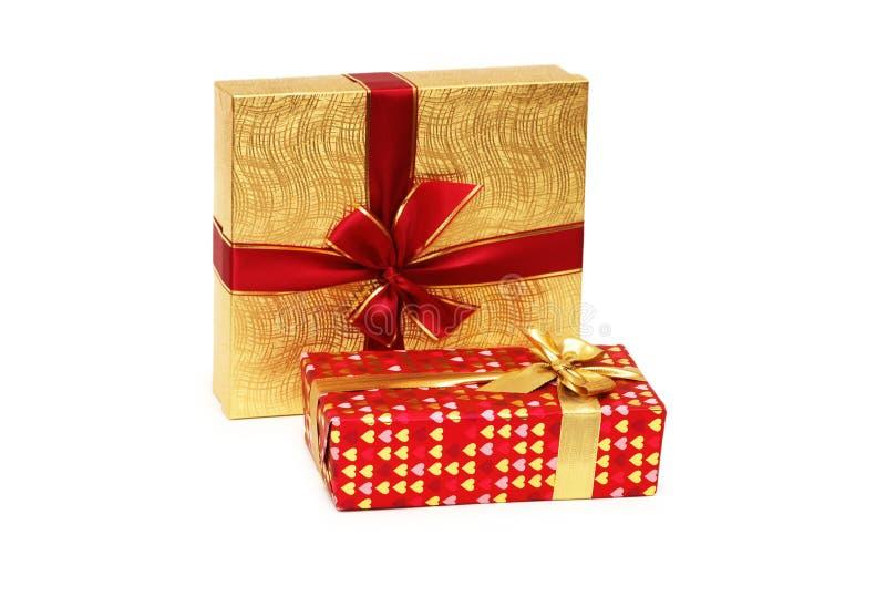 boxes gåvan isolerade två arkivfoton