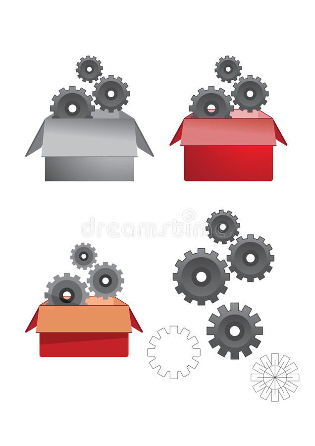 Boxes gears stock photography