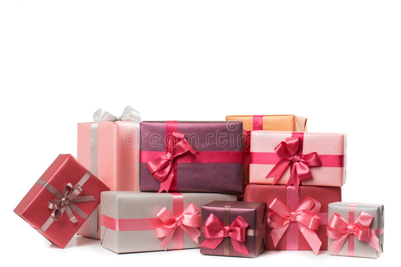 Boxes with gifts isolated royalty free stock photo