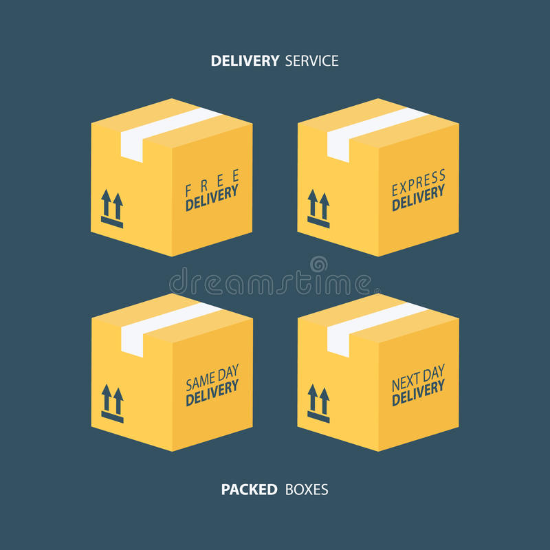 Boxes icons set. Packed boxes. Delivery service. Carton package box icons. Free delivery, express delivery, same day delivery, next day delivery. Vector stock illustration