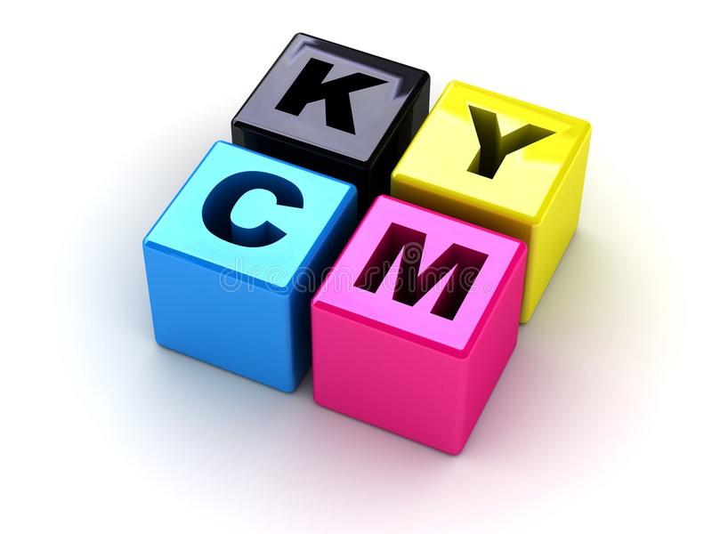 Boxes with letters CMYK stock images