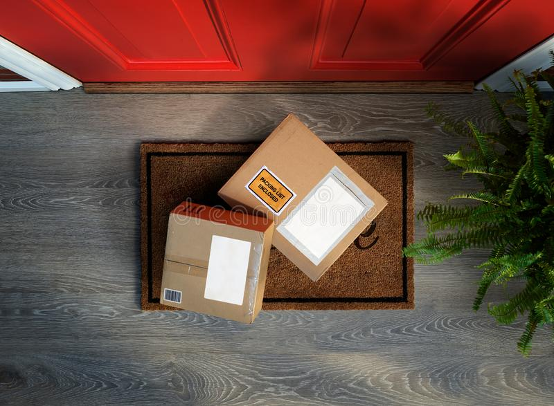 Boxes with online shopping delivered outside the door, target for theft. Boxes with online shopping delivered outside the door, could be stolen. Add your own stock photos