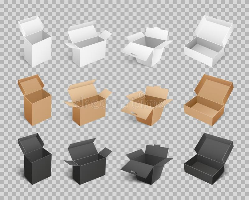 Boxes Packages Made of Paper and Carton Vector stock illustration