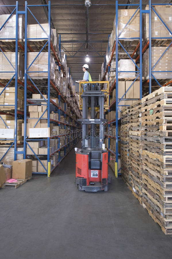 Boxes And Pallets In Warehouse royalty free stock image