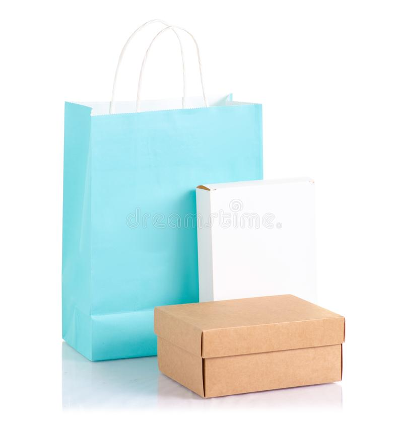 The boxes and paper bag package. On white background isolation royalty free stock photo