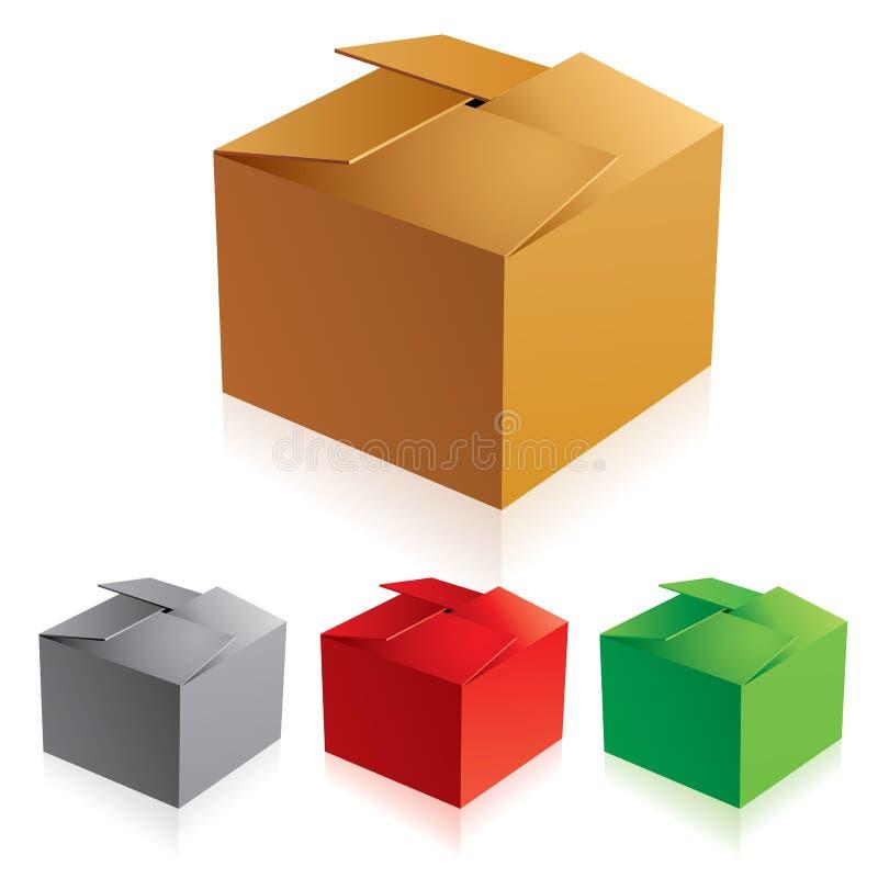 boxes papp stängd färg royaltyfri illustrationer