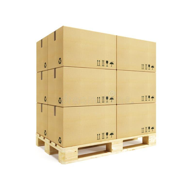 boxes papppaletten royaltyfri bild