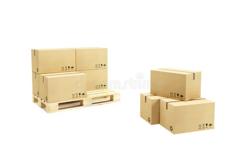 boxes papppaletten royaltyfri foto