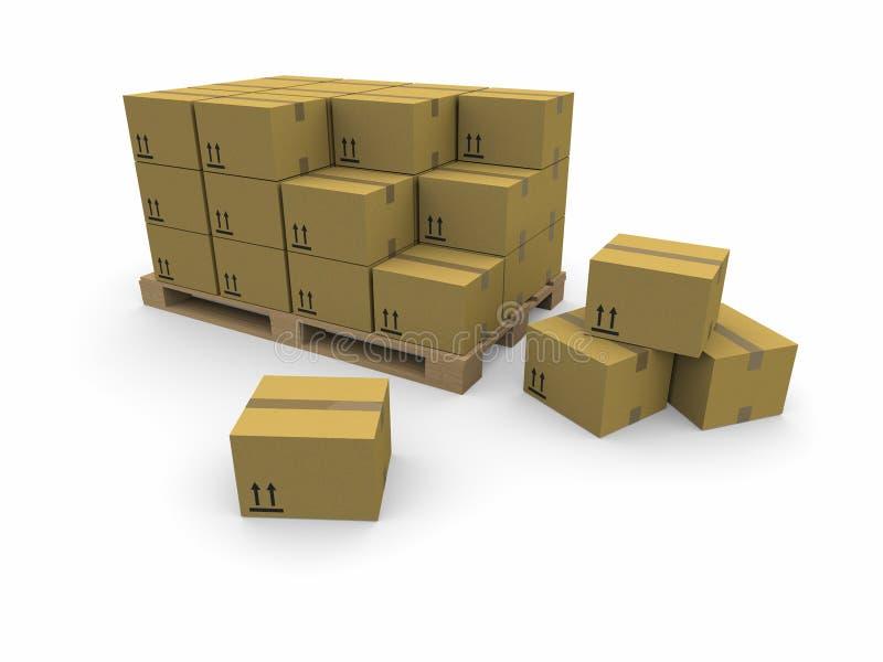 boxes papppalettstaplar stock illustrationer