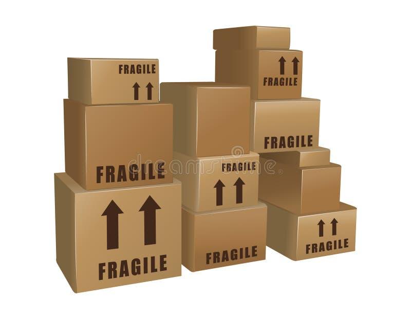 boxes pappstaplar stock illustrationer