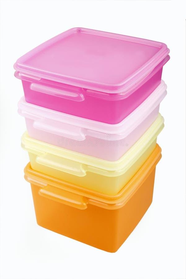 boxes plastic lagring royaltyfria bilder