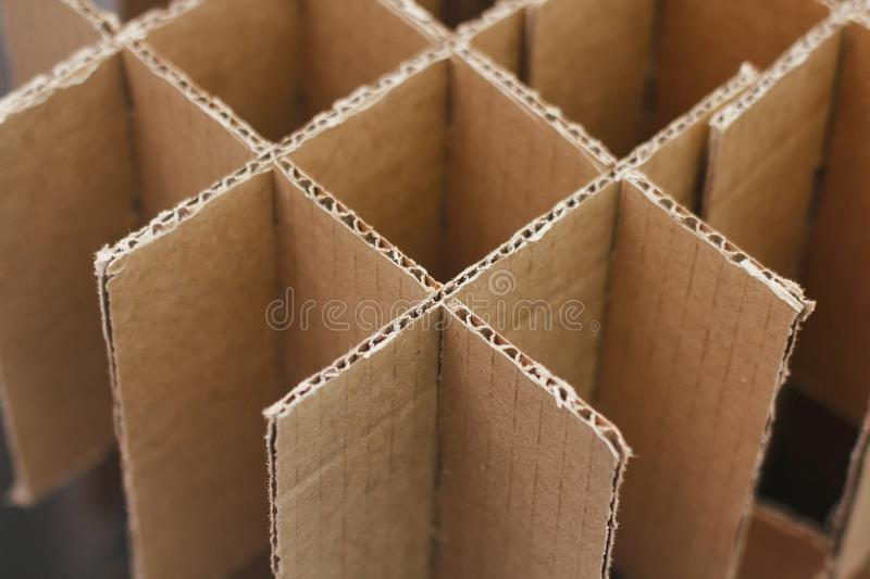 Carton boxes for bottles. Cardboard empty packaging. Waste recycling. Craft Paper parcels. Boxes for protect bottles in shipping process. Carton boxes for stock photo