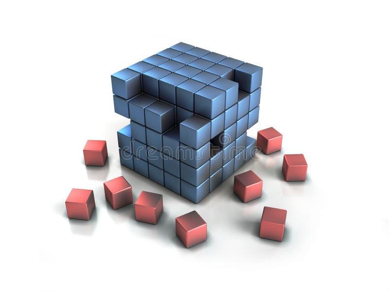 Boxes puzzle. Set of crumbling shiny cubes royalty free illustration