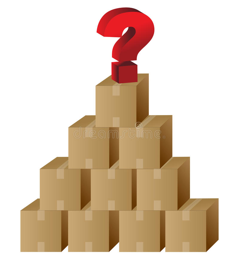 Boxes and a question mark in top stock illustration