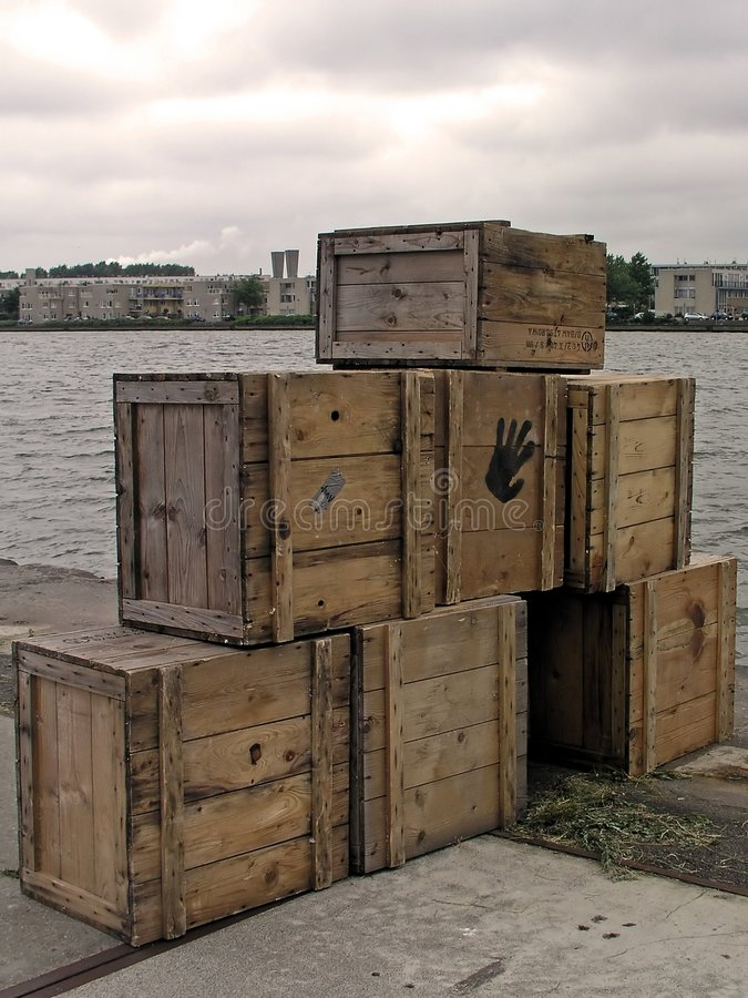 Download Boxes Ready For Shipment In Amsterdam Harbor Stock Image - Image: 1988611