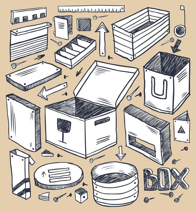 boxes samlingen royaltyfri illustrationer