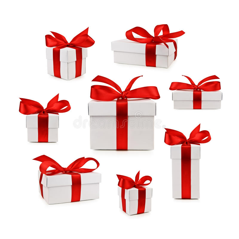 Boxes. Set of gift box isolated royalty free stock photo
