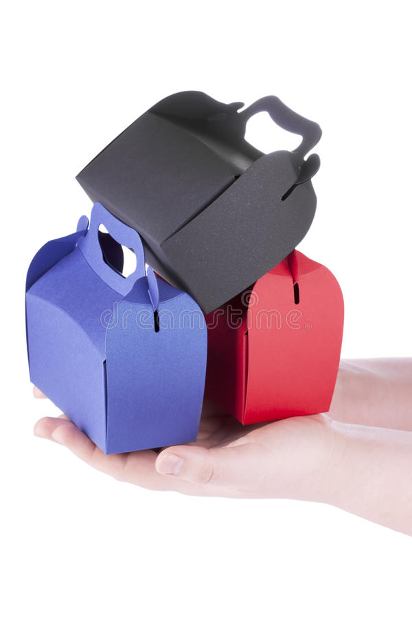 Download Boxes Set in the hands stock photo. Image of paper, giving - 23875964