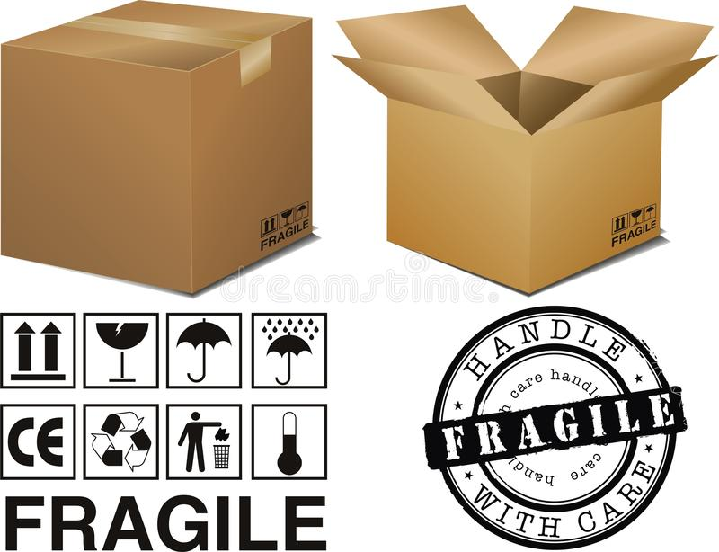 Boxes and signs royalty free illustration