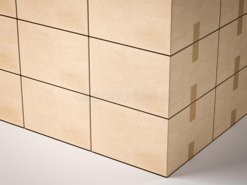 boxes stängd papp framförande 3d vektor illustrationer