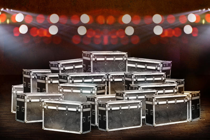 Boxes stage equipment for concert. Boxes stage equipment for a lighting concert stock image