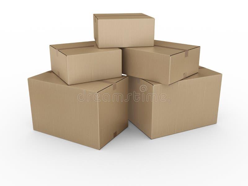boxes staplad papp royaltyfri illustrationer