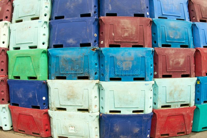 Boxes for transport. Plastic and colored boxes used for transport royalty free stock image