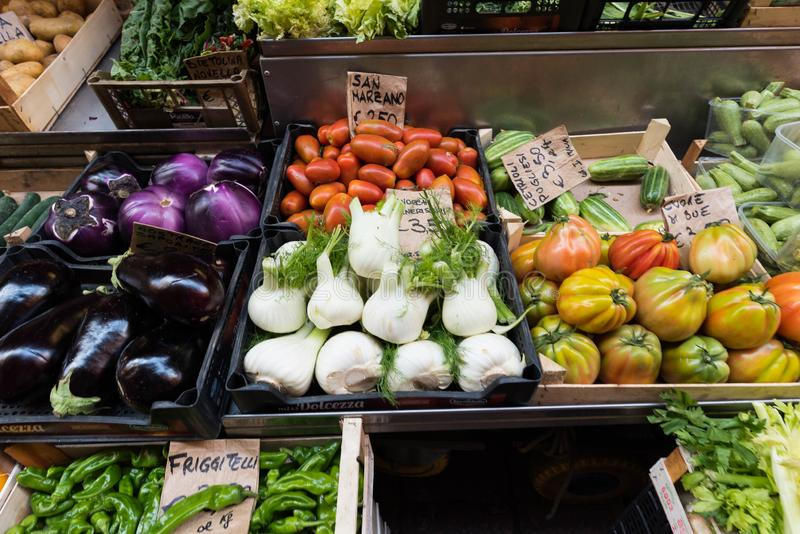Mix of vegetables placed on a market place royalty free stock image