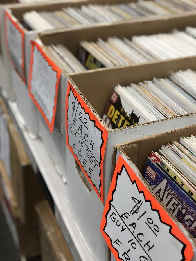 Vintage Comic Books For Sale stock photos