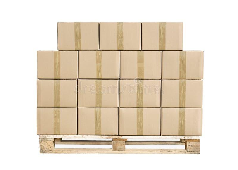 boxes vitt trä för papppalett royaltyfria bilder