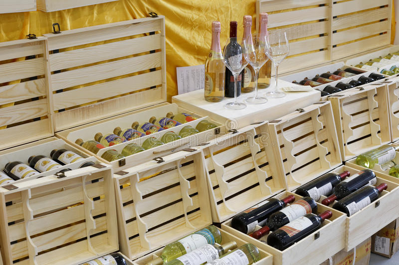 Boxes of wine in liqueur shop. Amoy, china has become an important foreign wine import port royalty free stock photo