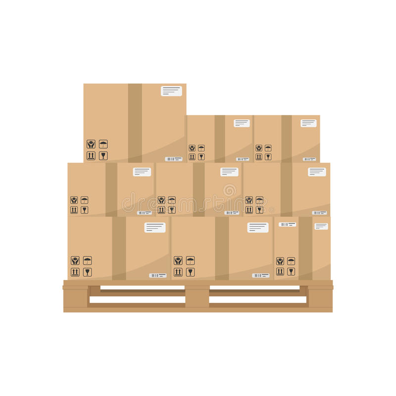 Boxes on wooded pallet. Brown closed carton delivery packaging boxes with fragile signs on wooden pallet royalty free illustration