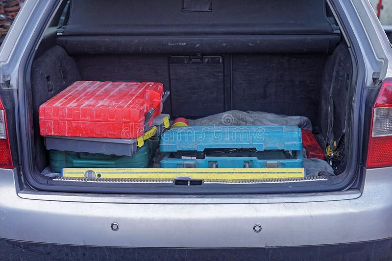 Tools in trunk stock photography