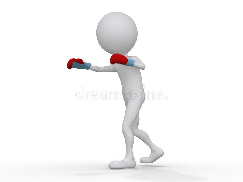 boxeur 3d effectuant un coup illustration libre de droits