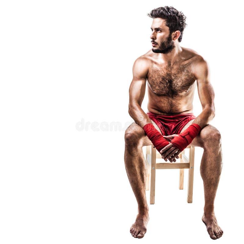 Boxeur au-dessus de blanc image stock