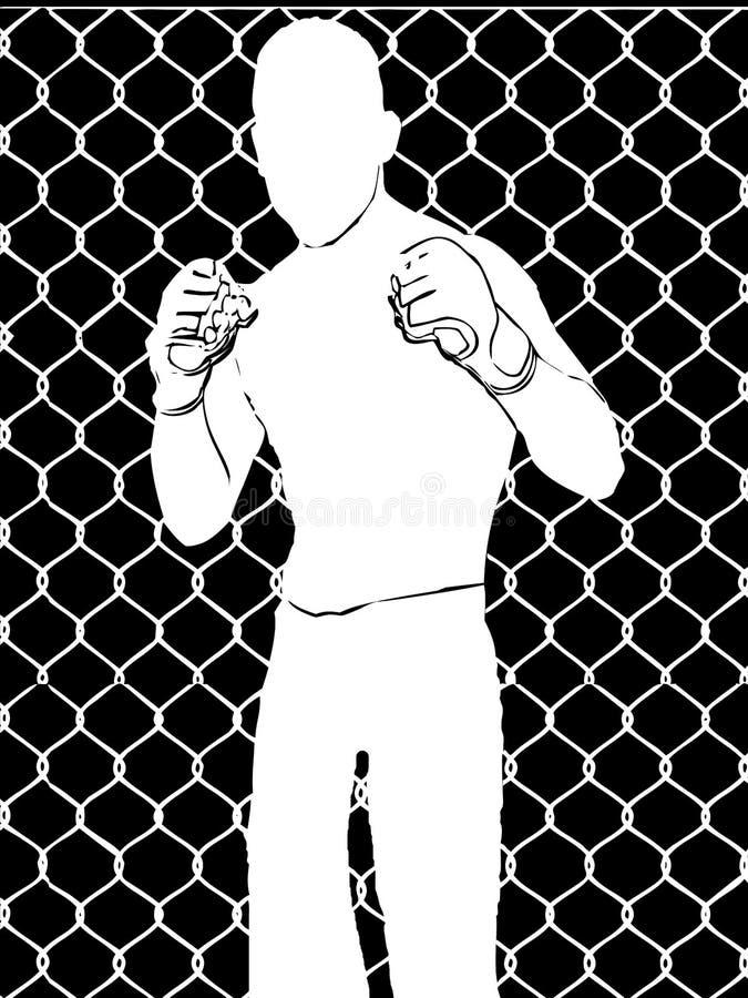 Boxeur avec des gants de boxe sans visage, illustration de combat illustration de vecteur