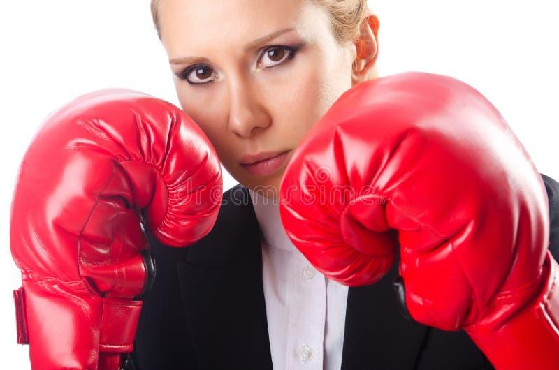 Boxeur de femme d'isolement image libre de droits