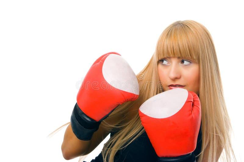 Boxeur de jeune femme image stock
