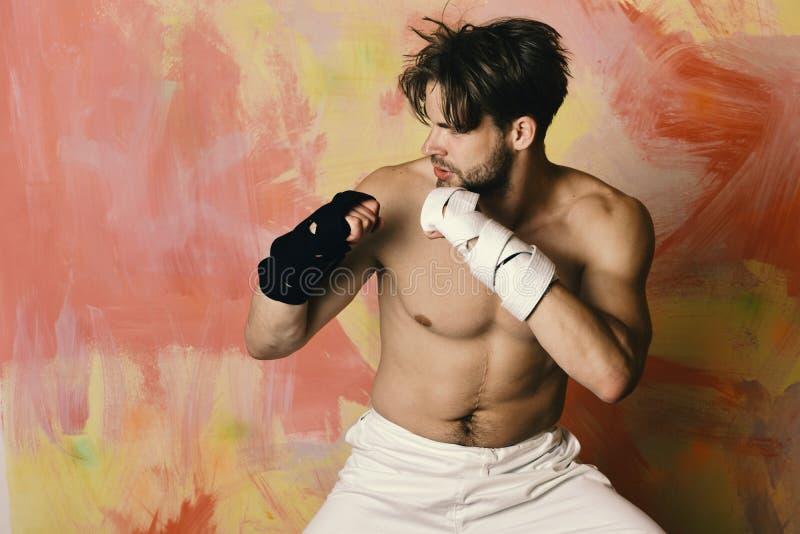 Boxeur ou arts martiaux de pratiques en matière de combattant de karaté images libres de droits