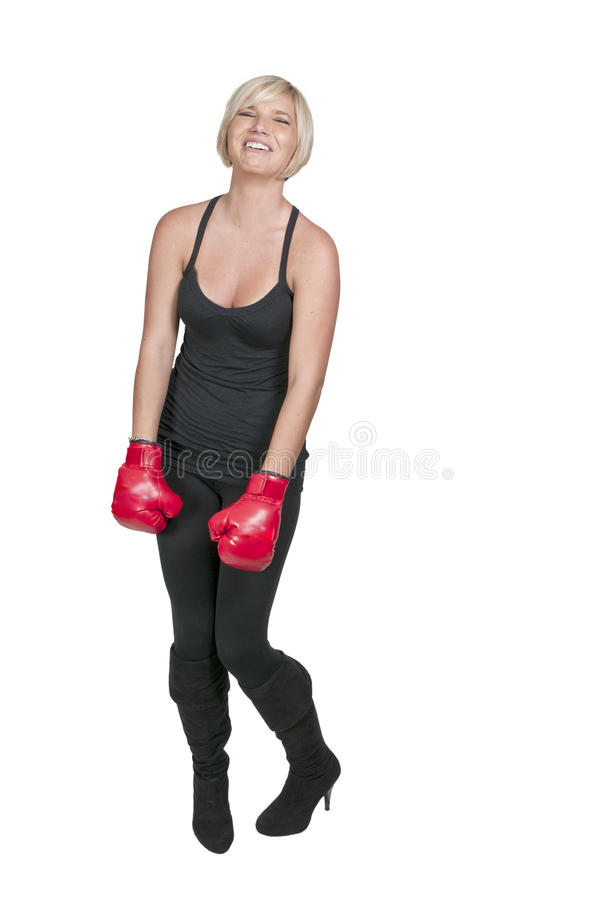 Boxeur riant nerveusement photo libre de droits