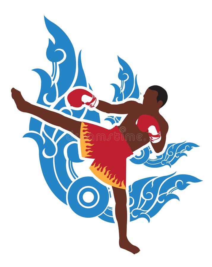 Boxeur thaïlandais et fond thaïlandais d'art illustration stock