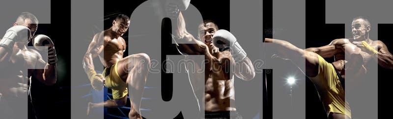 Boxeur tha?landais sur le ring, donnant un coup de pied photo stock