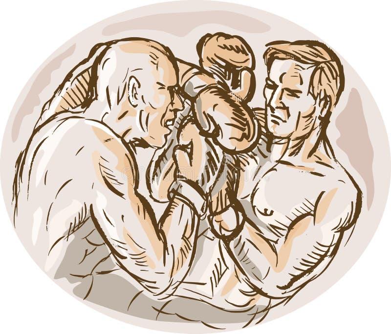 Boxeurs mâles projetant des perforateurs illustration libre de droits