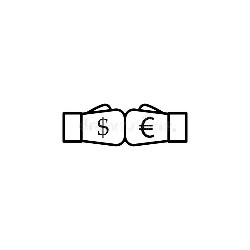 Boxhandschuhe Dollar und Euroentwurfsartikone Element der Währungskriegsikone für bewegliche Konzept und Netz apps Dünne Linie, d lizenzfreie abbildung