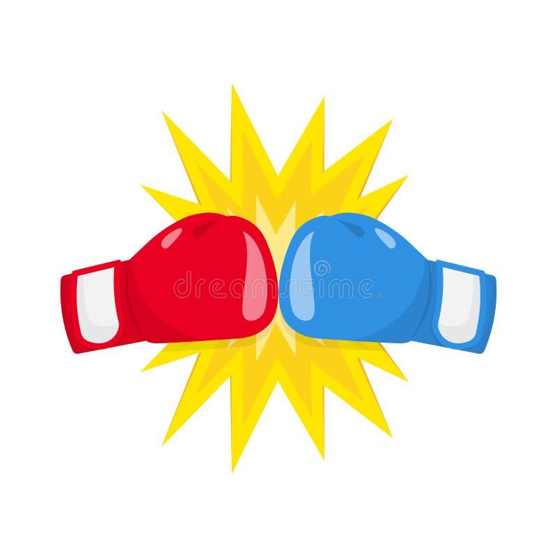 Boxhandschuhkampfikone, rot gegen Blau lizenzfreie abbildung